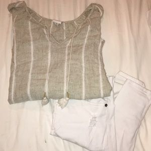 Stripped long-sleeve blouse